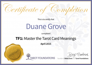 TF1 Tarot Certificate of Completion